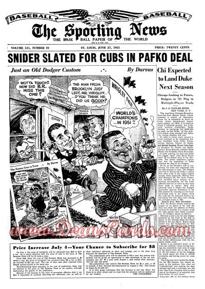 1951 The Sporting News   July 11  - Ty Cobb