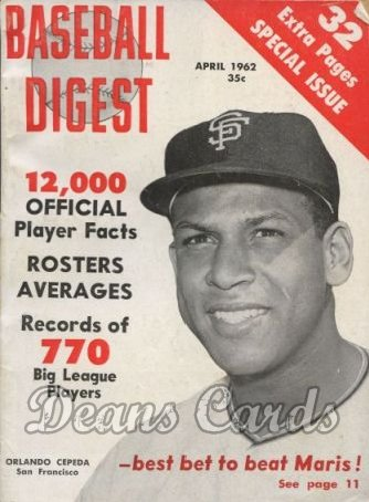 1962 Baseball Digest   -  Orlando Cepeda  April