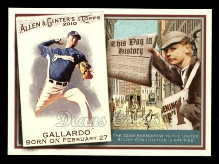 2010 Topps Allen & Ginter This Day In History #46 TDH  -  Yovani Gallardo This Day in History