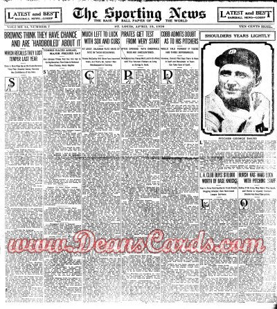 1926 The Sporting News   April 15  - George Dauss