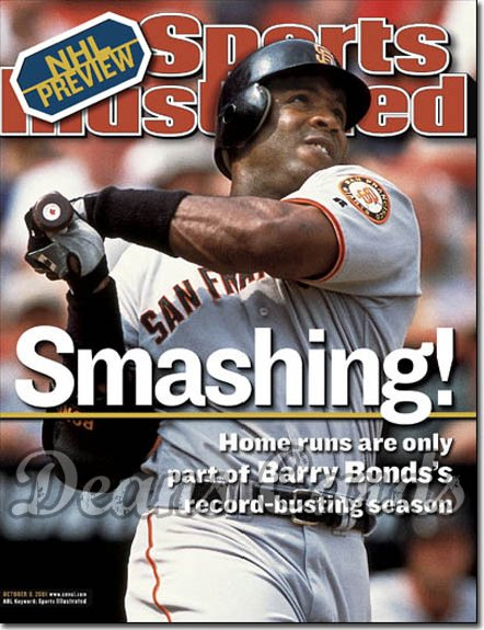 2001 Sports Illustrated - With Label   October 8  -  Barry Bonds SF