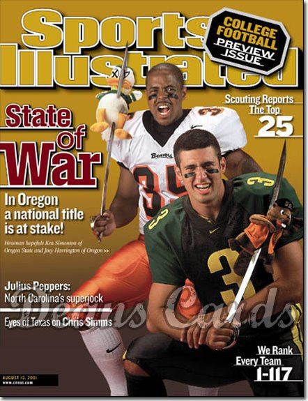 2001 Sports Illustrated   August 13  -  Ken Simonton & Joey Harrington Oregon St Beavers Ducks