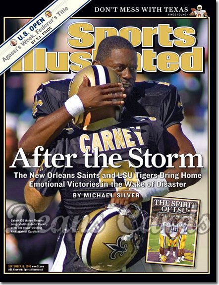 2005 Sports Illustrated   September 19  -  Aaron Brooks John Carney New Orleans NO Saints
