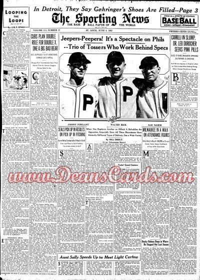 1942 The Sporting News   June 4  - Three Phils Wearing Glasses