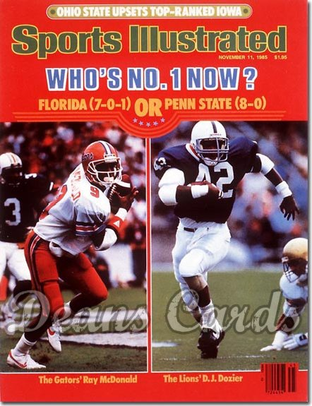 1985 Sports Illustrated - With Label   November 11  -  Ray Mc Donald (Florida)/DJDozier (Penn State)