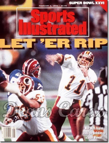 1992 Sports Illustrated - With Label   February 3  -  Mark Rypien (Washington Redskins) (Super Bowl XXVI)