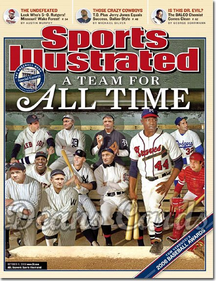2006 Sports Illustrated   October 9  -  Ruth Aaron Mantle Cobb Koufax etc. SI