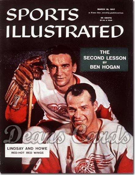 1957 Sports Illustrated - With Label   March 18  -  Gordie Howe & Ted Lindsay Red Wings