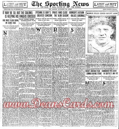 1926 The Sporting News   August 12  - George Uhle / Plank memorial