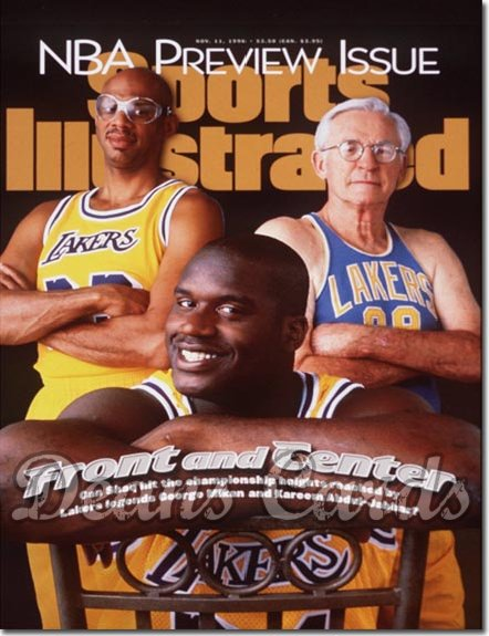1996 Sports Illustrated - With Label   November 11  -  Shaq O'Neal Kareem & George Mikan Lakers