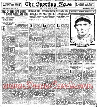 1926 The Sporting News   June 10  - Tony Lazzeri / Lefty Grove