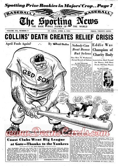 1951 The Sporting News   April 4  - Eddie Collins dies / Mickey Mantle
