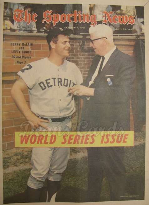 1968 The Sporting News   October 5  - Denny McLain / Lefty Grove / World Series Issue