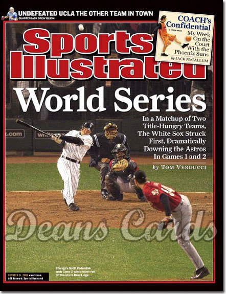 2005 Sports Illustrated - With Label   October 31  -  Scott Podsednik White Sox Brad Lidge Astros