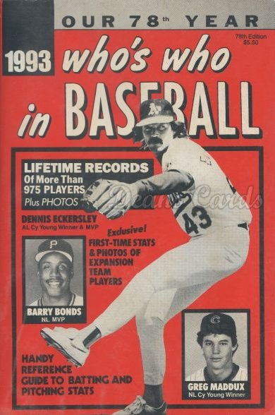1993 Who's Who in Baseball   -  Dennis Eckersley / Barry Bonds / Greg Maddux