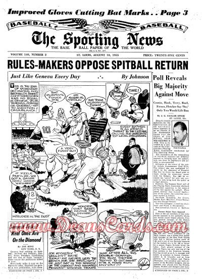 1955 The Sporting News   August 10  - Spitball debate / Ernie Banks