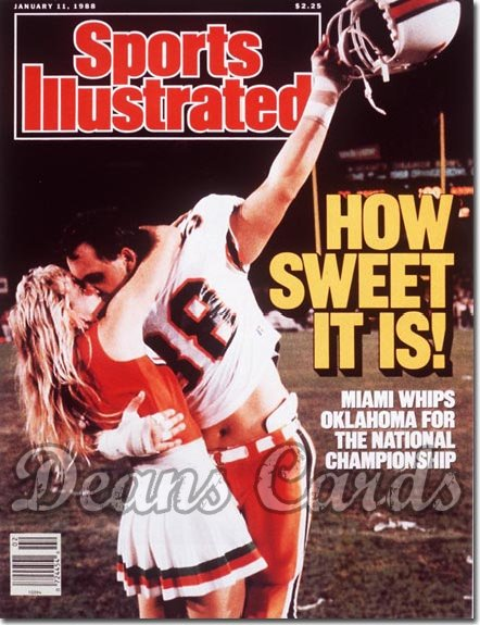 1988 Sports Illustrated - With Label   January 11  -  Dennis Kelleher (Miami Hurricanes)