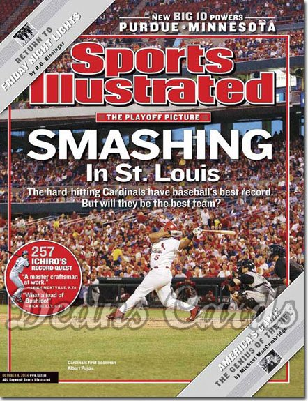 2004 Sports Illustrated - With Label   October 4  -  Albert Pujols St. Louis Cardinals Baseball Playoffs