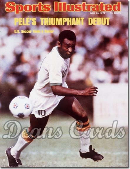 1975 Sports Illustrated - With Label   June 23  -  Pele New York Cosmos Soccer