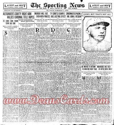 1926 The Sporting News   October 7  - Billy Southworth / World Series coverage / Sporting