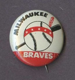 1961 Cranes Potato Chip Pin #12   Milwaukee Braves