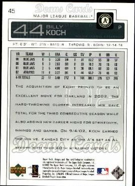 2003 Upper Deck #45  Billy Koch