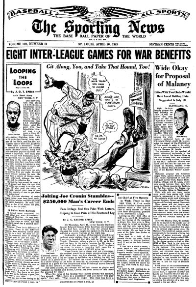 1945 The Sporting News   April 26  - St. Louis Browns