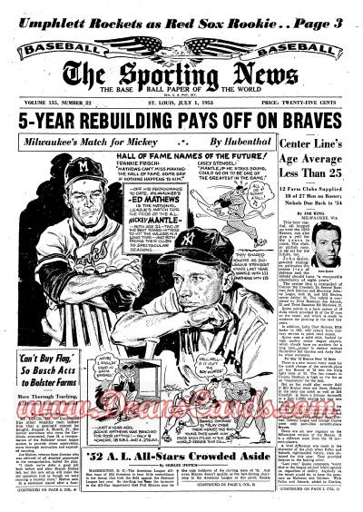 1953 The Sporting News   July 1  - Mickey Mantle