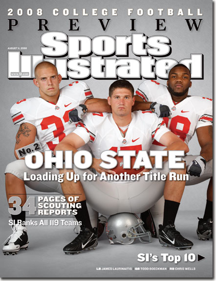 2008 Sports Illustrated - With Label   August 11  -  Laurinaitis Ohio State Buckeyes College FB Preview