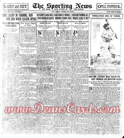 1928 The Sporting News   April 19  - Grover C. Cleveland Alexander