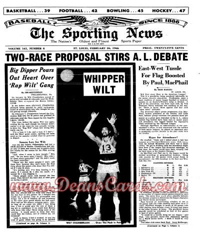 1966 The Sporting News   February 26  - Wilt Chamberlain / Don Drysdale