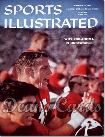 1957 Sports Illustrated - With Label   November 18  -  Clendon Thomas Oklahoma OU Sooners SI
