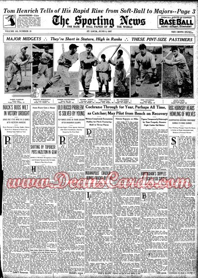 1937 The Sporting News   June 3  - Mickey Cochrane Beaned: Career Ends