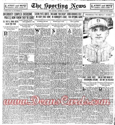 1926 The Sporting News   April 8  - Ken Williams