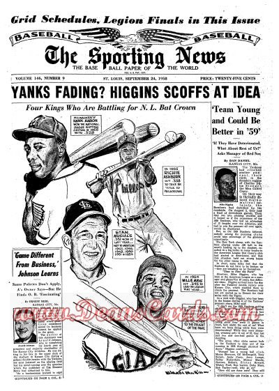 1958 The Sporting News   September 24  - Hank Aaron