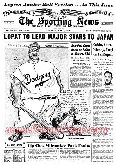 1953 The Sporting News   June 3  - Roy Campanella / Jesse Burkett dies. / Rocky Colavito