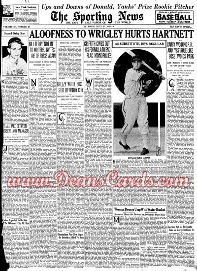 1939 The Sporting News   July 27  - Pee Wee Reese