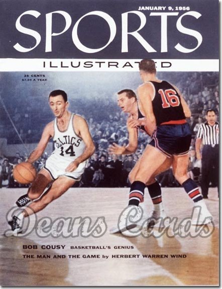 1956 Sports Illustrated - With Label   January 9  -  Bob Cousy Boston Celtics (1st cover)