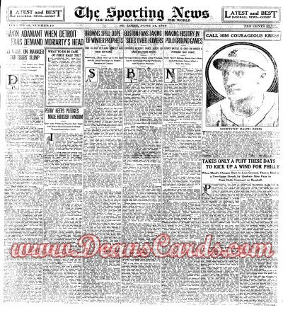 1928 The Sporting News   June 14  - Ralph Kress / George Earnshaw