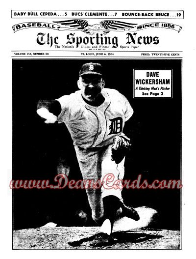 1964 The Sporting News   June 6  - Dave Wickersham / Roberto Clemente