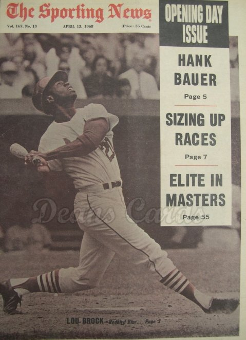 1968 The Sporting News   April 13  - Lou Brock / Opening Day issue