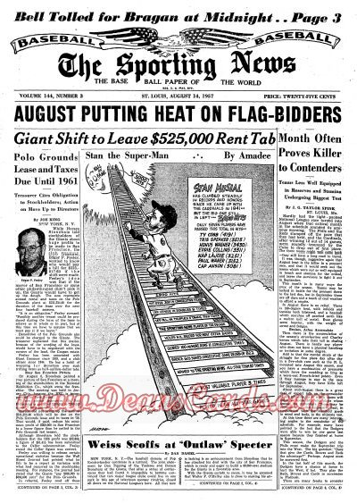 1957 The Sporting News   August 14  - Stan Musial / Enos Slaughter