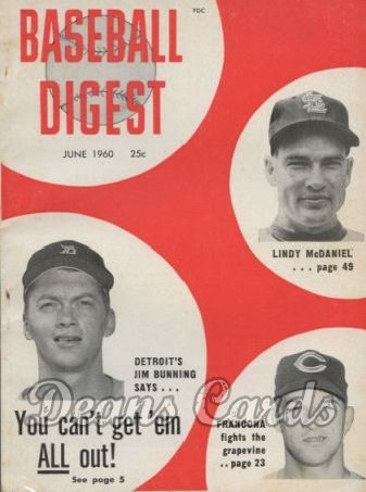 1960 Baseball Digest   -  Jim Bunning / McDaniel / Francona  June