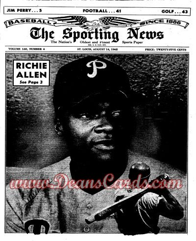 1965 The Sporting News   -  Rich Allen August 14  - Dick Allen / Willie Mays