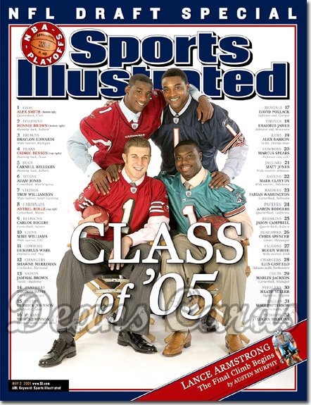 2005 Sports Illustrated   May 2  -  NFL Draft Alex Smith Ronnie Brown Cedric Benson Antrel Rolle