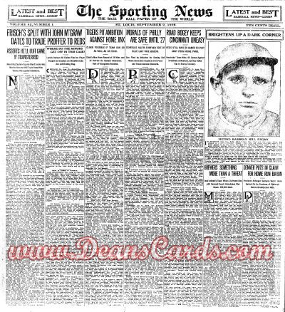 1926 The Sporting News   September 2  - Frank Frankie Frisch