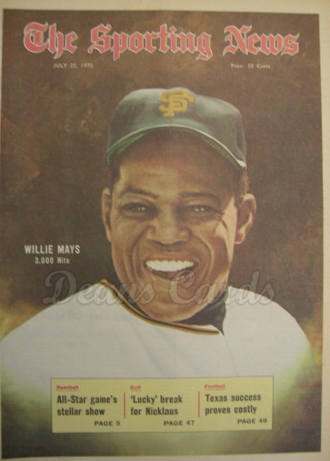 1970 The Sporting News   July 25  - Willie Mays / All-Star Game coverage
