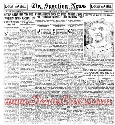 1927 The Sporting News   July 28  - Jackie Warner