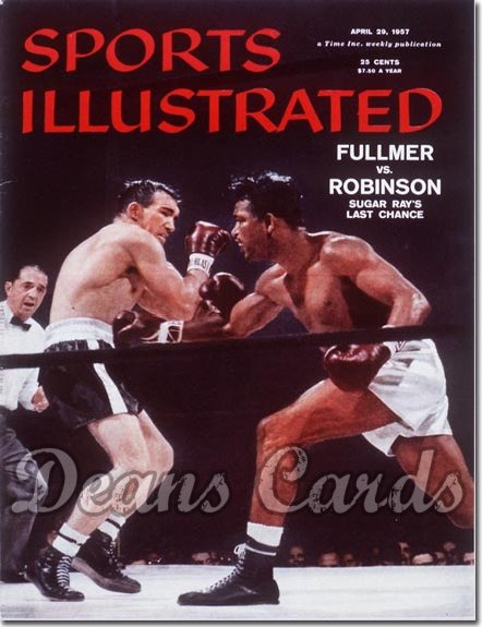1957 Sports Illustrated - With Label   April 29  -  Sugar Ray Robinson vs Gene Fullmer