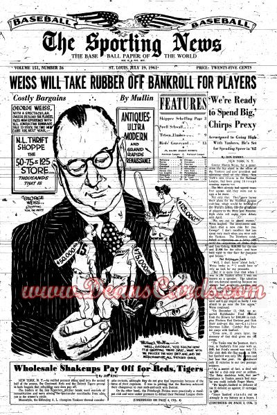 1961 The Sporting News   July 19  - George Weiss / All-Star game coverage